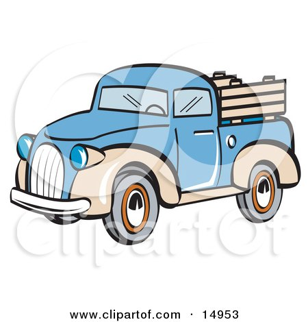 Blue and Tan Pickup Truck Clipart Illustration by Andy Nortnik