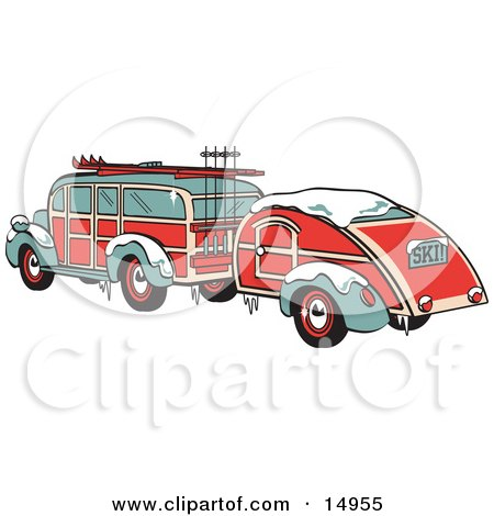 Green And Red Woody Car Hauling A Trailer And Carrying Skis And Poles On The Roof Retro  Posters, Art Prints