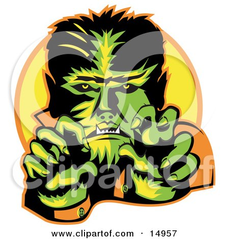 Male Werewolf Showing Fangs And Talons While Cast In Green And Yellow Lighting Clipart Illustration by Andy Nortnik