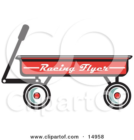 Red Pull Wagon Retro  Posters, Art Prints