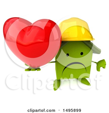 Clipart of a 3d Green Home Contractor Character, on a White Background - Royalty Free Illustration by Julos