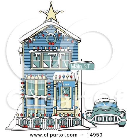 Car Covered In Snow Outside A Victorian House Decorated In Christmas Lights At 2365 Main Street Retro  Posters, Art Prints