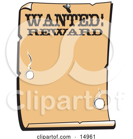 Vintage Wanted Sign Western Background Clipart Illustration by Andy Nortnik