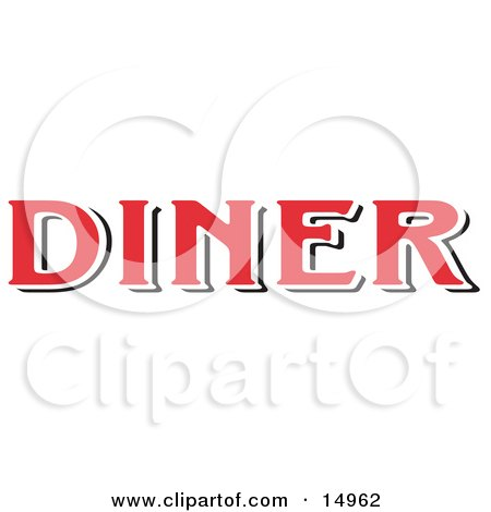 Red Diner Sign Clipart Illustration by Andy Nortnik