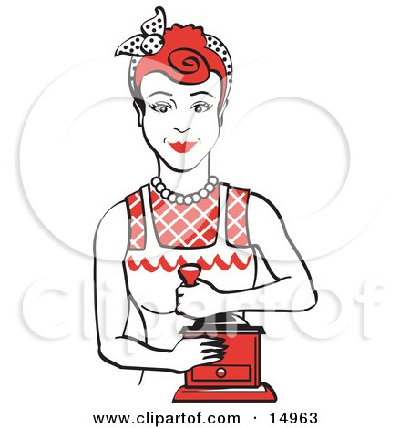 Red Haired Housewife Or Maid Woman Facing Front And Smiling While Using A Manual Coffee Grinder  Posters, Art Prints