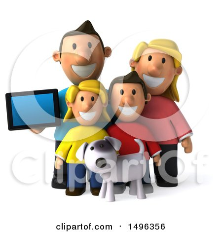 Clipart of a 3d Casual White Family with a Dog and Tablet, on a White Background - Royalty Free Illustration by Julos