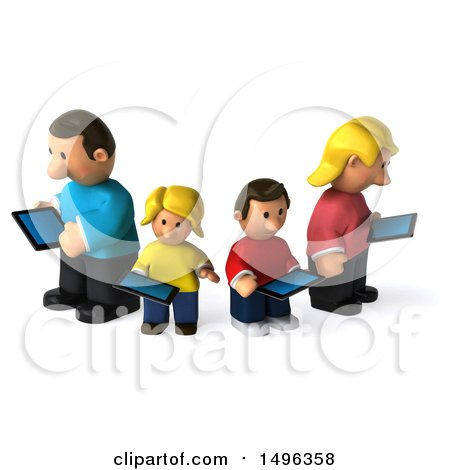 Clipart of a 3d Casual White Family Using Tablets, on a White Background - Royalty Free Illustration by Julos