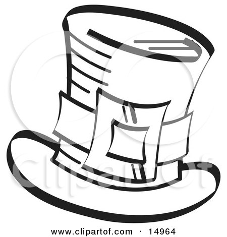 Leprechauns Tophat With A Buckle In Black And White Clipart Illustration