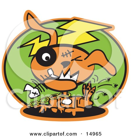 Orange Zombie Dog With Stitches And A Black Eye, Itching Fleas Off Of Himself And Biting A Fishbone Clipart Illustration by Andy Nortnik