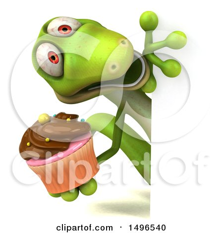 Clipart of a 3d Green Gecko Lizard Holding a Cupcake, on a White Background - Royalty Free Illustration by Julos