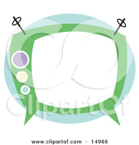 Old Fashioned Green Box TV Clipart Illustration