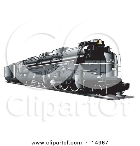 Black Train Travelling On Rails Clipart Illustration