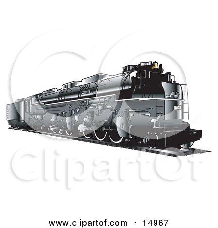 Black Train Travelling On Rails Clipart Illustration