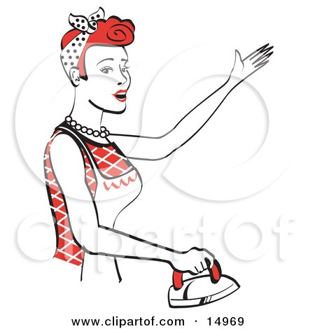 Red Haired Housewife Or Maid Woman Singing While Ironing Clothes And Doing The Laundry Clipart Illustration by Andy Nortnik
