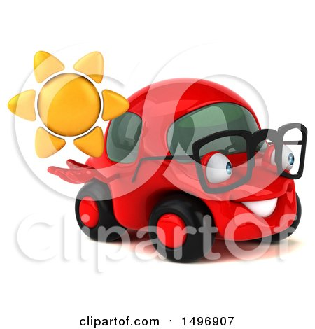 Clipart of a 3d Little Red Car, on a White Background - Royalty Free Illustration by Julos
