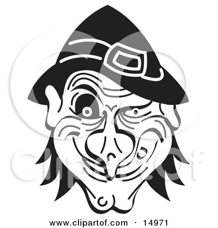Evil Warty Halloween Witchs Face Grinning Black And White Clipart Illustration