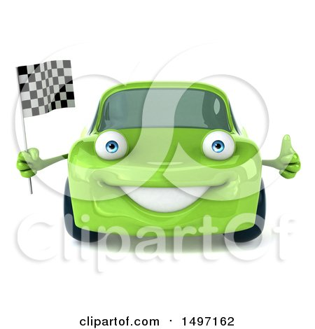 Clipart of a 3d Green Porsche Car, on a White Background - Royalty Free Illustration by Julos