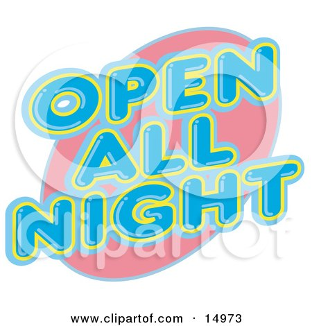 Vintage Open All Night Neon Sign Clipart Illustration by Andy Nortnik