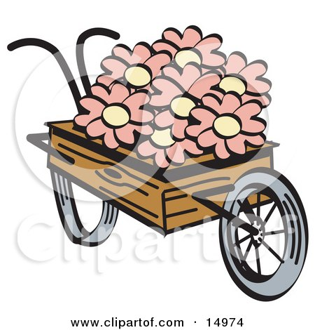 Old Fashioned Wooden Wheelbarrow With Pretty Pink And White Daisy Flowers On Easter Clipart Illustration by Andy Nortnik