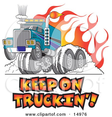 Tough Big Rig Hot Rod Truck Flaming And Smoking Its Rear Tires Doing a Burnout in Flames and a Wheelie Clipart Illustration by Andy Nortnik