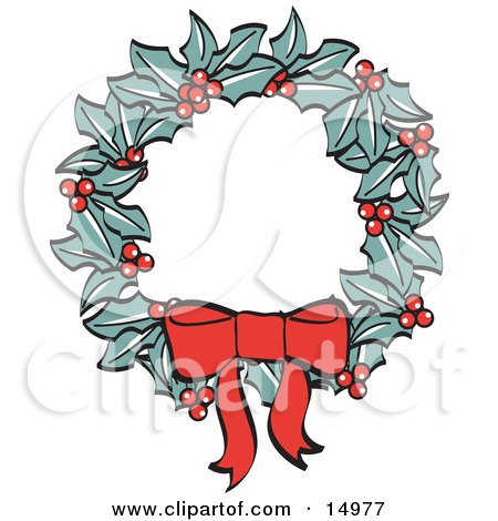 Red Bow On A Christmas Wreath Made Of Holly Retro Clipart Illustration by Andy Nortnik
