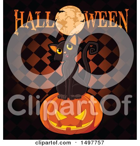 Clipart of a Black Cat on a Jackolantern Pumpkin with a Full Moon and Halloween Text over Checkers - Royalty Free Vector Illustration by Pushkin