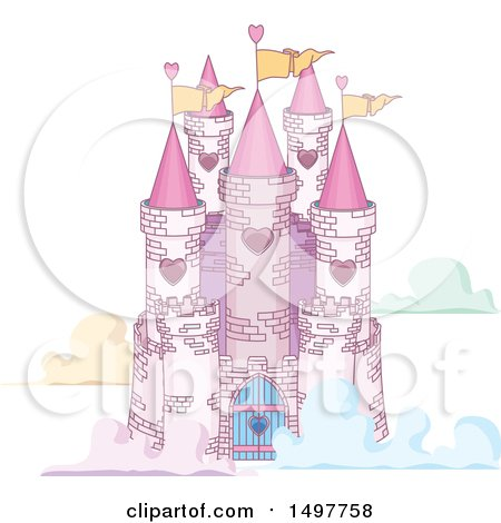 Clipart of a Fairy Tale Castle in the Clouds - Royalty Free Vector Illustration by Pushkin