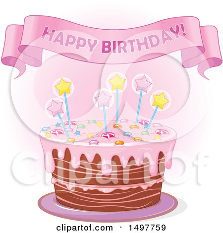 Clipart Of A Happy Birthday Banner Over Cake
