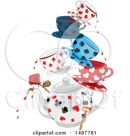 Clipart of a Cart Suit Patterned Tea Pot with Cups and Saucers, a Rose and Key - Royalty Free Vector Illustration by Pushkin