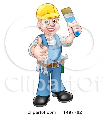 Clipart of a Full Length Male Handy Man Holding a Paintbrush and Giving a Thumb up - Royalty Free Vector Illustration by AtStockIllustration