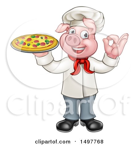 Clipart of a Full Length Chef Pig Gesturing Perfect and Holding a Pizza - Royalty Free Vector Illustration by AtStockIllustration