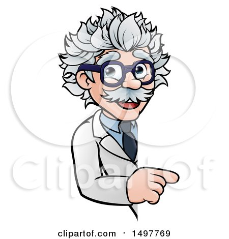 Clipart of a Cartoon Senior Male Scientist Pointing Around a Sign - Royalty Free Vector Illustration by AtStockIllustration