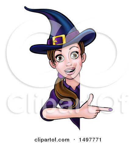 Clipart of a Brunette Witch Pointing Around a Halloween Sign - Royalty Free Vector Illustration by AtStockIllustration