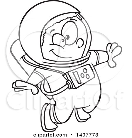 Clipart of a Cartoon African American Boy Astronaut Floating, Black and White - Royalty Free Vector Illustration by toonaday