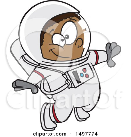 Clipart of a Cartoon African American Boy Astronaut Floating - Royalty Free Vector Illustration by toonaday