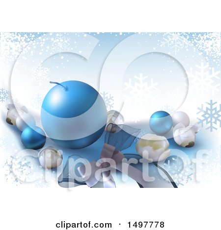 Clipart of a Blue Snowflake Christmas Background - Royalty Free Vector Illustration by dero