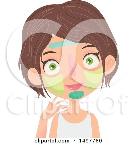 Clipart of a Caucasian Girl with Multiple Facial Masks on - Royalty Free Vector Illustration by Melisende Vector