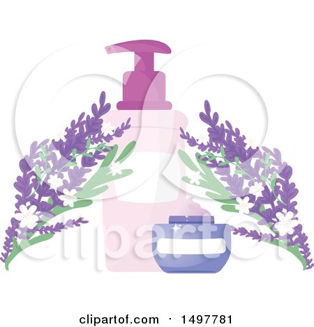 Clipart of a Natural Cosmetics Containers with Flowers - Royalty Free Vector Illustration by Melisende Vector