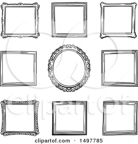 Clipart Of sketched frame design elements - Royalty Free Vector Illustration by yayayoyo