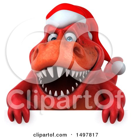 Clipart of a 3d Red Christmas T Rex Dinosaur, on a White ...