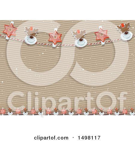 Clipart of a Christmas Reindeer and Star Banner Border Background over a Cardboard Texture - Royalty Free Vector Illustration by dero