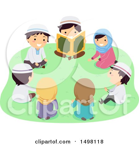 Clipart of a Group of Muslim Children Reading the Quran Outdoors - Royalty Free Vector Illustration by BNP Design Studio