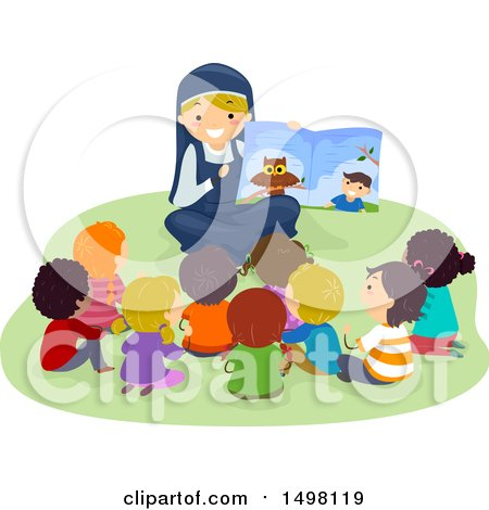 Clipart of a Happy Nun Reading a Story to a Group of Children - Royalty Free Vector Illustration by BNP Design Studio