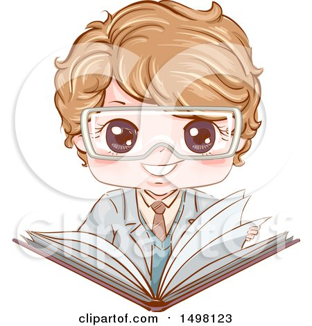 Clipart of a Boy Wearing Science Lab Goggles and Holding an Open Book - Royalty Free Vector Illustration by BNP Design Studio
