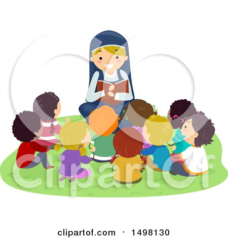 Clipart of a Happy Nun Reading the Bible to a Group of Children - Royalty Free Vector Illustration by BNP Design Studio