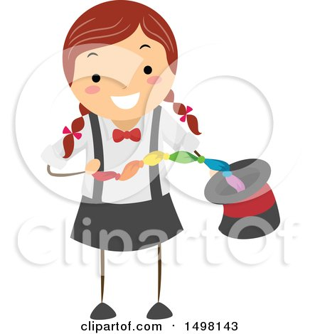 Clipart of a Girl Performing a Magic Trick with a Scarf and Hat - Royalty Free Vector Illustration by BNP Design Studio