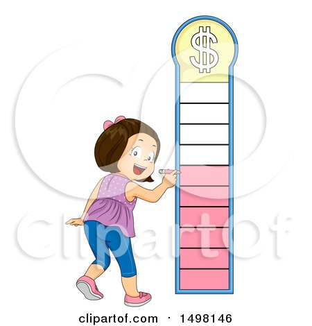 Clipart of a Girl Marking a Financial Goal Chart - Royalty Free Vector Illustration by BNP Design Studio