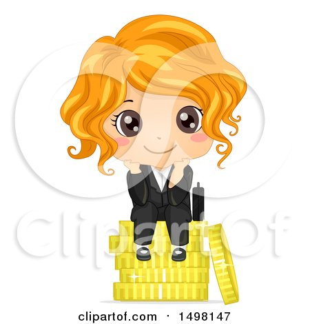 Clipart of a Business Girl Sitting on a Stack of Coins - Royalty Free Vector Illustration by BNP Design Studio