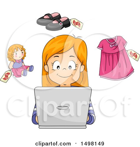 Clipart of a Girl Shopping on a Laptop - Royalty Free Vector Illustration by BNP Design Studio