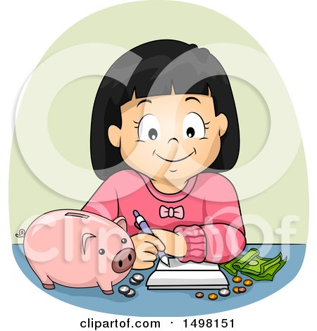 Clipart of a Girl Budgeting and Planning for Her Savings - Royalty Free Vector Illustration by BNP Design Studio